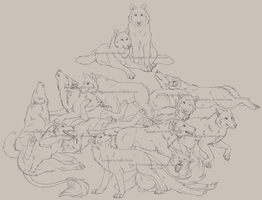 Huge wolf family sketch by CunningFox