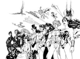 The Women of DC Comics, B+W by AdamWithers
