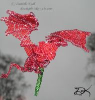 Beaded Dragon With Rose by Delinlea