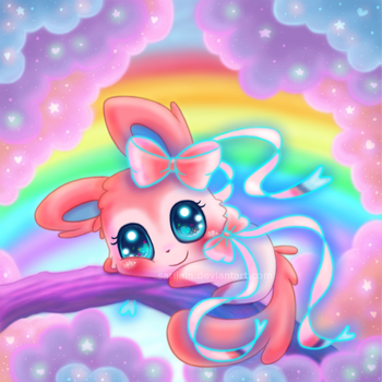 Sylveon and the Cotton Candy Tree by Sarilain