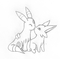 Espeon + Umbreon Love by sunnyfish