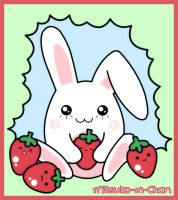 Kawaii Bunny and Strawberries by Mitsuko-m-Chan