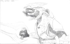 Halo Elite line art by Mikey-Spillers