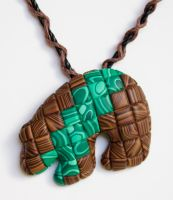Faux Wood n Malachite Bear by FauxHead