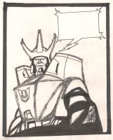 Galvatron Inked Comic Book Panel by derekwc