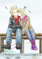 [APH] A kiss on the pier by Edo--sama