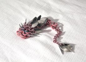 SOLD - Rose and Silver Dragon with Whiskers by SerenFey