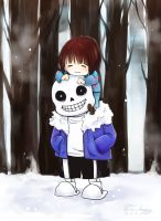 [Undertale] Frisk and Sans by Sa-happy