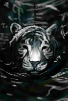 white tiger on the river by ThessaGreenleaf