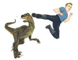 steve rogers kicking a velociraptor in the face by lostphysics