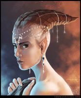 Horned Girl Portrait by thomaswievegg