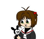 Sakura with a Oswald doll by SuperMarcosLucky96