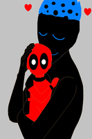 Demongo and Baby DeadPool im here for you son by bumblebeegirl1234