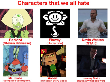 Characters that we all hate meme by VanossFan28