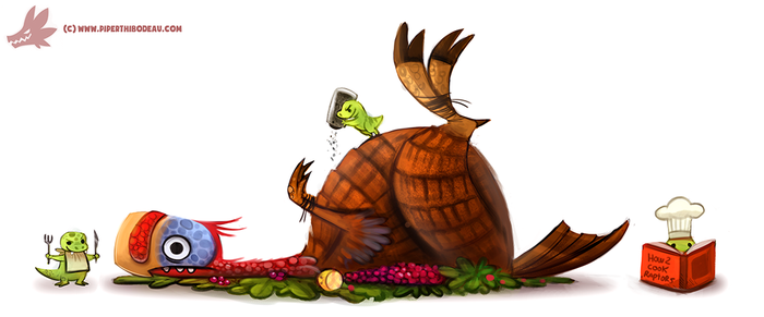 Daily Paint #1100. Turkey-Raptor by Cryptid-Creations