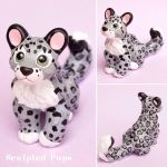 Snow leopard cub sculpture by SculptedPups