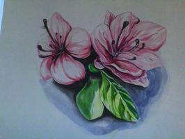 Watercolor Painting: Pink Flowers by PinkSea13