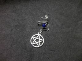 Wire wrapped pentacle and lapis ear cuff by jenscraftycreations