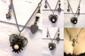 Vintage Heart Assemblage Necklace by ValkyrieOfODIN