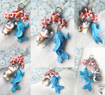 Lucky Cat - Blue Koi - Cherry Blossoms Phone Charm by altaiira
