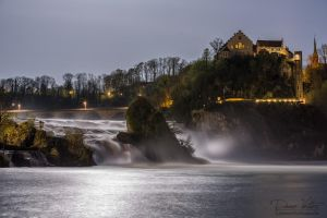The Rhine Falls in the moonlight by LinsenSchuss