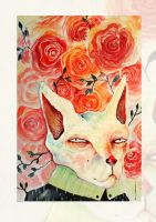 cat...and roses by RedGella