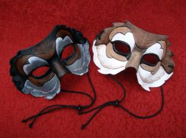 Half Wolf Leather Masks by merimask