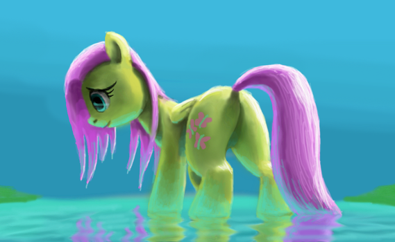 Fluttershy in water by odooee