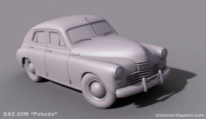 Gaz 20M 'Pobeda' clay render 1 by jips3d