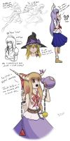 Touhou sketches and drawings by RealityGlitch