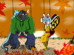 Godzilla AU : end of the day on swings by gomez-99