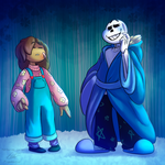 underTALLs - Frisk n Sans by Piranhartist