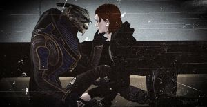 Something in the eyes. Garrus and Shepard by paulina1002