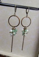Green cluster earrings by asukouenn