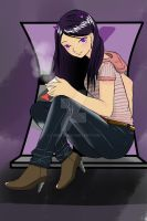 Lyx sitting outside her window by Lyrialia
