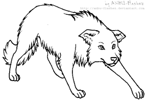 lineart - Border Collie by ANBU-Flashez