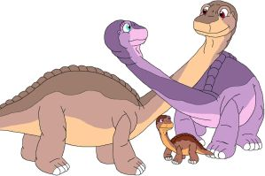 Littlefoot, Ali and their son by MCsaurus