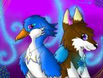 Fursona and feathersona by Snowwingedwolf