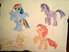 My Little Pony sketches WIP by XcubX