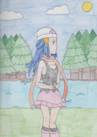 Pokemon - Hikari by the Lakefront by SwiftNinja91