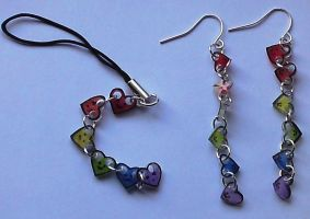 Rainbow hearts charm set by Lovelyruthie