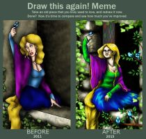 Draw it Again-Rapunzel-4 years with GIMP by musicalartfreak