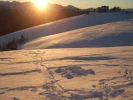 Snow Angel and Sunset at Hurricane Ridge by VoyagerHawk87
