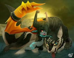 Midna and Wolf Link by phation