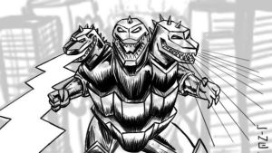 3 Headed Evil Godzilla for 05 19 2012 by LineDetail
