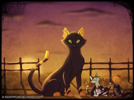 Halloween Cat Portrait by FantaTara