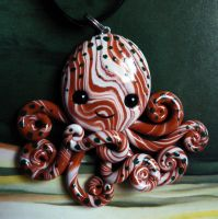 Woodland Octopus Necklace Charm by BlackMagdalena