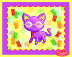 Cat + Gummi Bears by Princess-Peachie