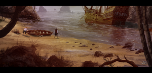 Speedpainting 25: Pirate Cove by woutart