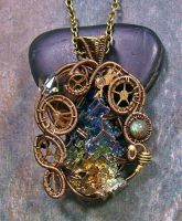 Steampunk Bismuth, Labradorite and Crystal Pendant by HeatherJordanJewelry